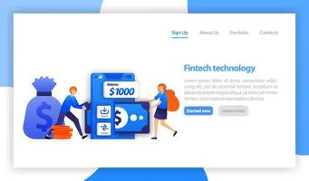 financial technology or fintech. mobile saving money. Deposit and transfer with smartphone. woman borrow money with fintech Apps. flat vector illustration for web, banner, landing page, mobile