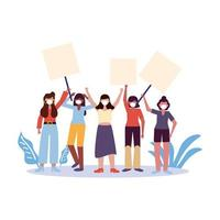 Women with medical masks and banners boards vector design