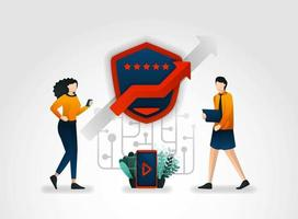 flat cartoon character. users provide security reviews on each application they use. security companies also ask for advice from security consultants to improve security protective service on each app vector