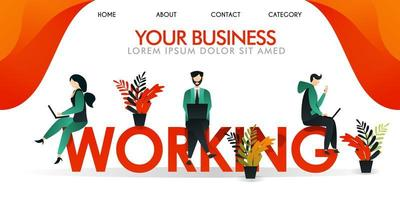 vector illustration. web page, ui ux landing page, banner. a group of people working on the words WORKING, in color  yellow orange. men and women who sit working together use a laptop