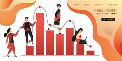 grupo de personas que se ayudan mutuamente en el trabajo para obtener grandes ganancias, concepto de ilustración vectorial, se puede utilizar para presentaciones, web, banner ui ux, página de destino vector