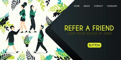 Refer a friend vector illustration concept, group of people who are greeting and talking with refer a friend word , can use for, landing page, template, ui, web