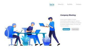employees gathering to start meeting. discuss company problems to search and find solution. Business vector illustration concept for landing page, web, ui, banner, flyer, poster, template, background