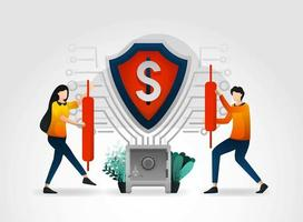 flat cartoon character. shield safeguard financial data and customer transaction database for bank. banking provides professional security services for all financial guard services and global security