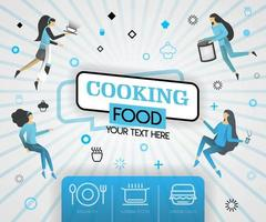 blue vector illustration concept. cooking food recipes cover book.  healthy cooking recipes and delicious food cover can be for, magazine, cover, banner, website, cookbook, book, mobile. flat cartoon