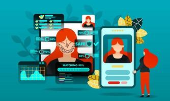flat cartoon character. vector illustration for technology, security, future.woman trying to log in by scanning face. program in smartphone match information face data with diagram, dot, line, face
