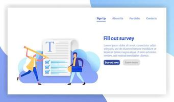 vector flat illustration for banner, landing page, mobile. people select a resume for a job. recruitment agency. application form for employment. students fill out the exam question quiz. claim form