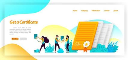 get a certificate for seminar, company, university or achievement of success student or worker in reaching a goal. vector illustration concept for landing page, ui ux, web, mobile app, poster, banner