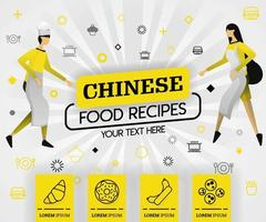 yellow vector illustration concept. chinese food recipes recipes cover book.  healthy cooking recipe and delicious food cover can be for, magazine, cover, banner, cookbook, book. flat cartoon style