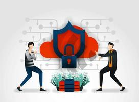 flat cartoon character. developers keep cloud storage, server, database from attacks by thieves and hackers. security companies conduct assessments on product security systems and service to protect customers vector