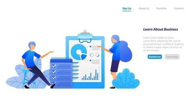 people studying business by analyzing data and checking tasks discussing. finding problem solutions. vector illustration concept for landing page, web, ui, banner, flyer, poster, template, background