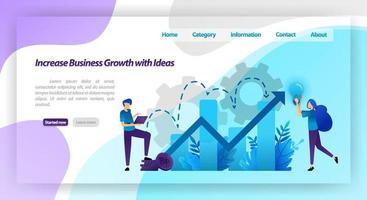 increase business growth with idea. financial chart to increase company value and experience in business. vector illustration concept for landing page, template, ui ux, web, mobile app, poster, banner