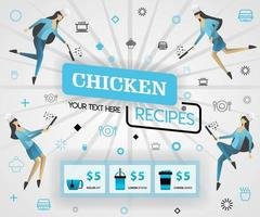 blue vector illustration concept. chicken recipes recipes cover book.  healthy cooking recipes and delicious food cover can be for, magazine, cover, banner, website, cookbook. flat cartoon style