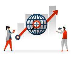 business and promotion of vector illustration. following world trading in choosing best keywords, SEO to reach high traffic. SEO and keyword increase income statistics. SEO logo. flat character style