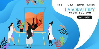 check yourself in laboratory. scientist who was checking a man who drowned in a canister, vector template background isolated, can be use for presentation, web, banner ui ux, landing page