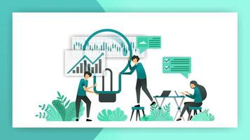 business plan. planning, deliberation and brainstorming to determine strategy and direction of the company business. vector illustration concept for landing page ui web mobile app poster banner flyer