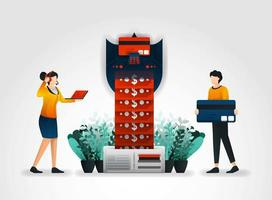 flat cartoon character. people withdraw their money from ATMs or banks that equipped with security technology. Security companies provide solutions, personal, financial security for banking business