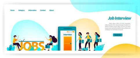 Job interview application in getting best young workers for company team. get, find and recruit and hiring employees. vector illustration concept for landing page, ui ux, web, mobile app, poster, ads