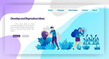 Develop and Reproduce Ideas. park with light bulb plants. teamwork harvesting and caring for idea. vector illustration concept for landing page, ui ux, web, mobile app, poster, banner, website, flyer