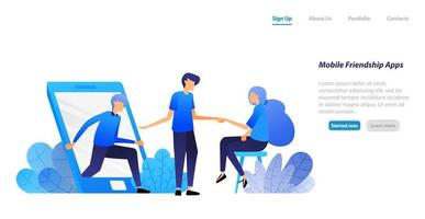 people get out of mobile and invite to meet. friendship, introduction and matchmaking application. vector illustration concept for landing page, web, ui, banner, flyer, poster, template, background