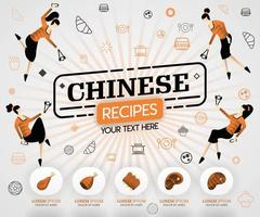 orange vector illustration concept. chinese recipes recipes cover book.  healthy cooking recipe and delicious food cover can be for, magazine, cover, banner, cookbook, book, mobile. flat cartoon style