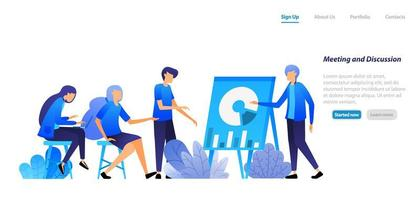 directors and employees are meeting to debate and discuss company issues with data. business seminar. vector illustration concept for landing page, web, ui, banner, flyer, poster, template, background