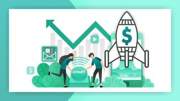 how to start a business. entrepreneurs and investors who push the button to start a business. startup company with rocket launching. vector illustration concept for landing page ui web mobile poster