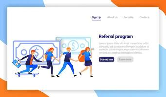 People join in and refer a friend to get money. business promotion, advertising, call through the horn.  Referral business marketing. flat vector illustration for web, banner, landing page, mobile
