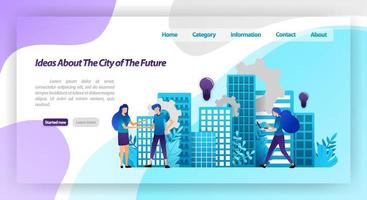 ideas for a better city in the future, smart city mechanism and cooperation with hands shaking. vector illustration concept for landing page, ui ux, web, mobile app, poster, banner, website, flyer