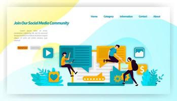 Join our social media community. people influence and invite followers to share and communicate . vector illustration concept for landing page, ui ux, web, mobile app, poster, banner, website, flyer