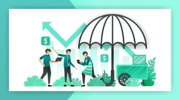 small business insurance. insurance policies that help and guarantee SME businesses, owners and investors from workplace accidents and business losses. vector illustration concept for landing page ads