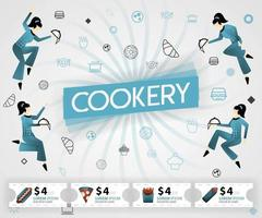 blue vector illustration concept. Cookery food recipes cover book.  healthy cooking recipe and delicious food cover can be for, magazine, cover, banner, cookbook, book, mobile. flat cartoon style