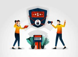 flat character. Banking guarantees the security of customer financial data. financial sector also works with consultants to audit security alarm systems that purchased from security guard agencies vector