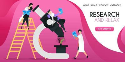 grupo de científicos que están investigando plantas en un concepto de ilustración de vector de microscopio grande, se puede utilizar para presentaciones, web, banner ui ux, página de destino