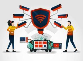 Personaje plano. Las cámaras de seguridad se esfuerzan al máximo por proteger la seguridad de los datos. La industria de la seguridad complementa sus servicios con video de seguridad para monitorear y capacitar a los oficiales de seguridad de las empresas. vector