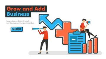 Grow and Add Business line vector illustration. Audit on data and company performance to add or add business types and increase company financial income and profits. for Landing pages Website Mobile