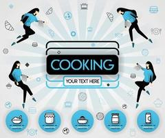 blue vector illustration concept. Cooking book and food cover book.  healthy cooking recipe and delicious food cover can be for, magazine, cover, banner, cookbook, book, mobile UI. flat cartoon style