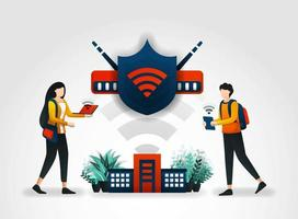Vector illustration concept. students are accessing internet safely using a wifi network and shield. network security check securing wifi with help of security services company and security companies