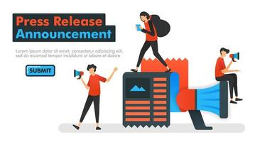 Press Release Announcement vector illustration. People who are announcing new news and influencing friends to read. concept of referral program. Can be used for Landing pages Website Mobile App UI UX