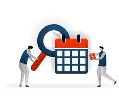 business and promotion of vector illustration. Determine keywords based on calendar and holiday dates. see tranding that bring traffic. maximize SEO on certain days. SEO logo .flat character style