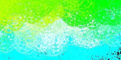 Telón de fondo de vector azul claro, verde con triángulos, líneas.