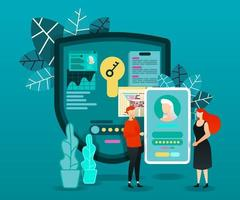 flat cartoon character. vector illustration for security, technology. people who trying to log in to smartphone account. security shield with key reading data and processing to make the account open