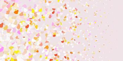 Fondo de vector rosa claro, amarillo con formas caóticas.