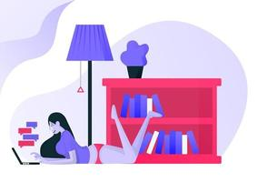 girl is lying flat on floor house and replying to a message from laptop. women relax beside bookshelves and lamp wearing bottoms or casual clothes. Flat vector illustration for Landing page, ui ux