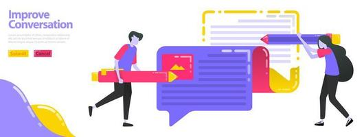 Illustration improve conversation. People who are writing opinions can ballon chat. Improve and update opinions and information. Flat vector concept for Landing page, website, mobile, apps ui, banner