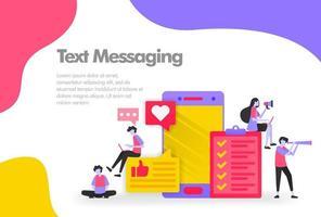 concepto de ilustración de mensajería de texto, enviar y recibir mensajes. concepto de diseño plano moderno para el sitio web de la página de destino, aplicaciones móviles ui ux, cartel de banner, folleto de volante, documento de impresión web. vector eps 10