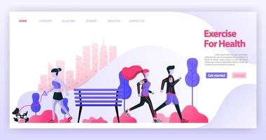 Couples running together and women jogging with dogs in the city park or central park. Flat vector illustration concept for Landing page, website, web, mobile apps,ux ui, banner, proster, background