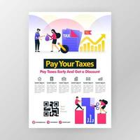 Poster calling for annual tax payment, pay taxes on time and get discounts with vector flat cartoon illustration. flayer business pamphlet brochure magazine cover design layout space for A4 print size