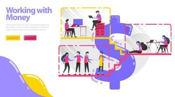 Illustration of working with money. People work, do activities and interact in dollar building. People work in the workplace. Flat vector concept for Landing page, website, mobile, apps ui, ux, poster