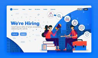 Banner or landing page to recruit employees or we're hiring design concepts. Cartoon illustration of job seeker interview. Can use for landing page, Website, UI UX, Web, Mobile App, Poster, Background vector
